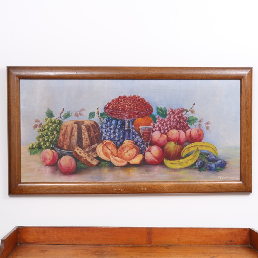 Still Life Oil Painting with Fruit, Wine and Cake, 1943