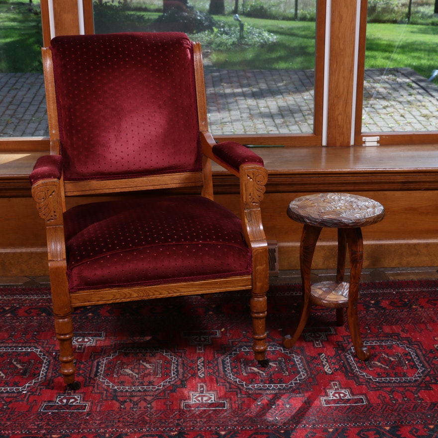 Victorian Eastlake Red Velvet Upholstered Chair and Ornately Carved Accent Table