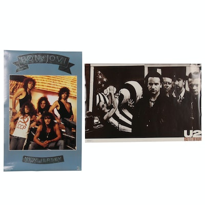 "U2 ""Rattle and Hum"" and Bon Jovi ""New Jersey"" Posters, Late 20th Century"