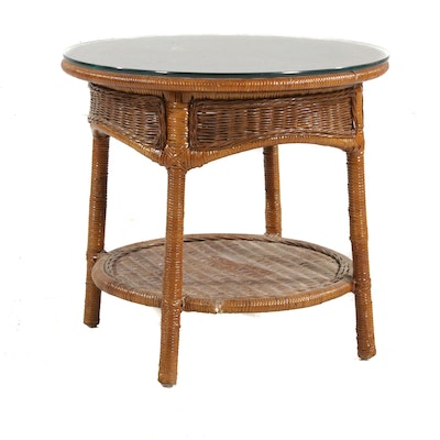 Round Woven Wicker and Rattan Side Table, Late 20th Century
