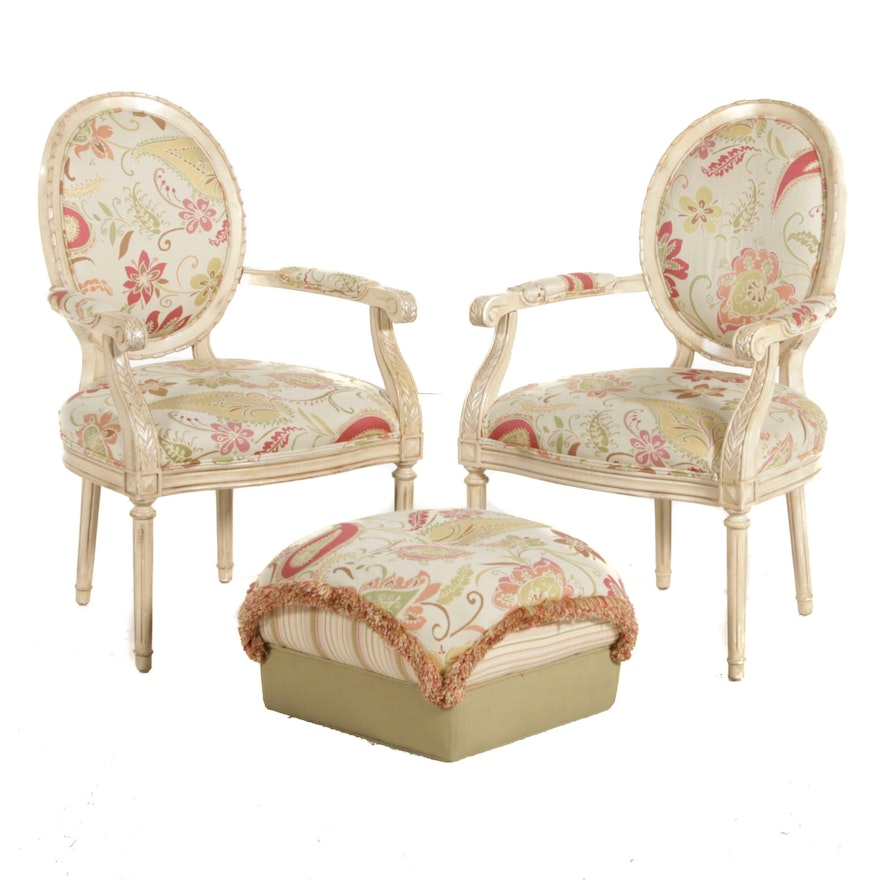Pair of Craftmaster Furniture Louis XVI Style Upholstered Armchairs with Ottoman