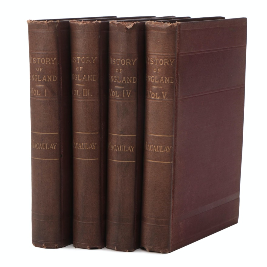 """Near Complete """"The History of England"""" by Thomas B. Macaulay, Late 19th Century"""