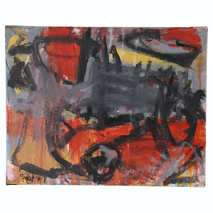 """Robbie Kemper Abstract Acrylic Painting """"Gray Smudges"""""""