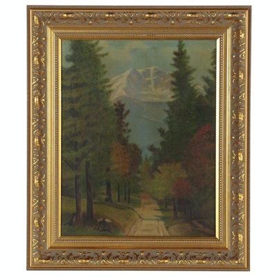 Mountain Landscape Oil Painting, Early 20th Century