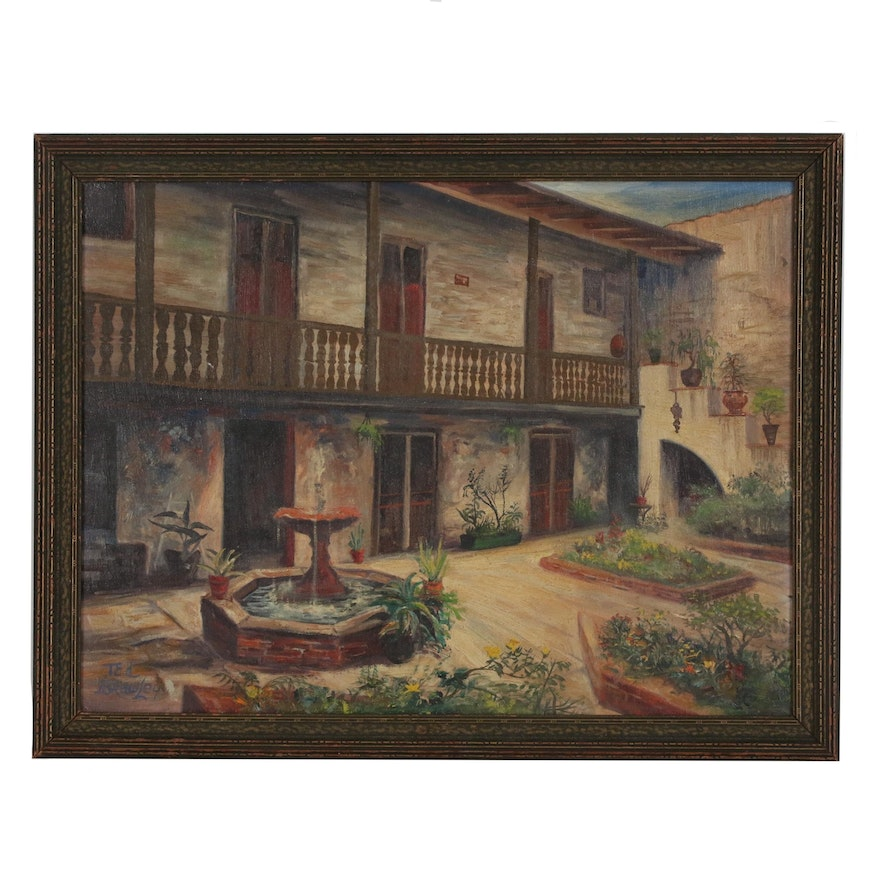 Ted Brawley Oil Painting of a Courtyard, Late 20th Century