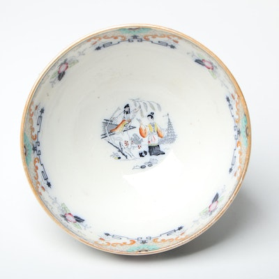 """Petrus Regout Maastricht """"Timor"""" Asian Polychrome Earthenware Bowl, Late 19th C."""