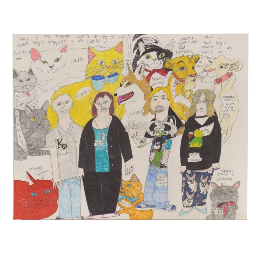 Sean Regis Traynor Mixed Media Drawing Montage of Pets and Family