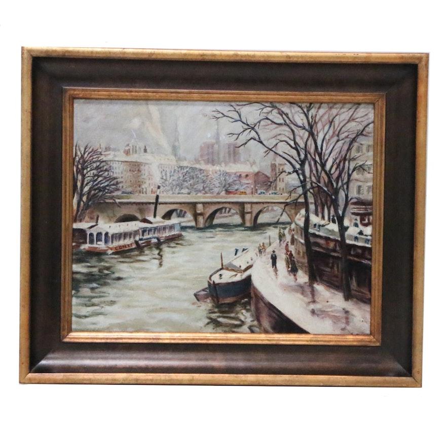 Parisian Seine River Winter Scene Oil Painting, 1932