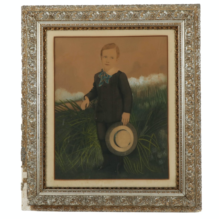 Watercolor Portrait of Young Boy in Period Frame, Early 20th Century
