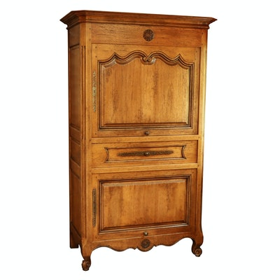 French Provincial Style Wood Computer Media Cabinet