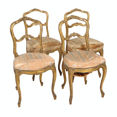Quignon Louis XV Style Carved Giltwood Chairs, Mid to Late 19th Century