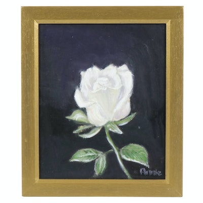 "Still Life Oil Painting ""White Rose"", 21st Century"
