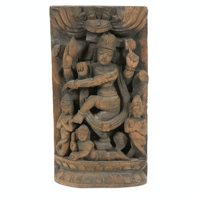 Wood Wall Carving of Hindu Goddess, 20th Century