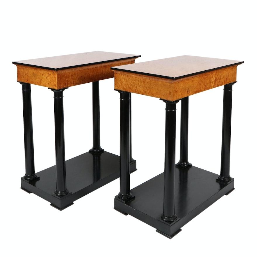 Birdseye Maple Wood Veneer Side Tables with Ebonized Column Bases, 20th Century