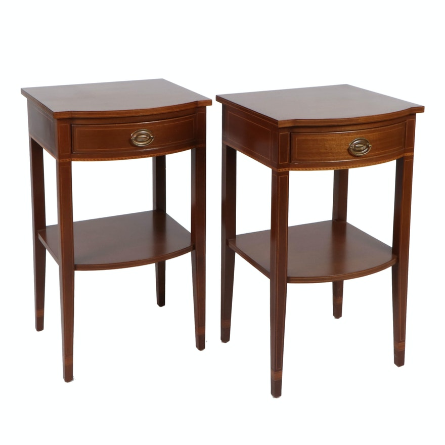 Pair of Hepplewhite Style Banded and String Inlaid Tiered End Tables