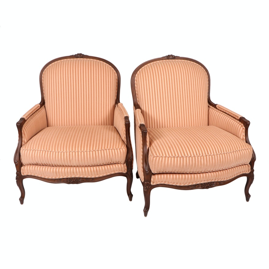 Pair of Heirloom Furniture French Provincial Style Upholstered Armchairs