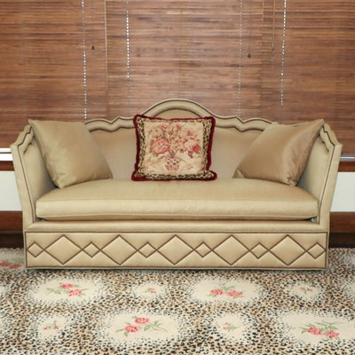 Baker Furniture Tan Upholstered Sofa with Nailhead Trim and Down Seating