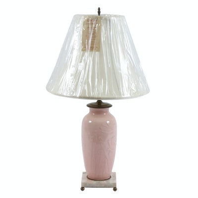 Pale Pink Ceramic Table Lamp on Marble Base, Late 20th Century
