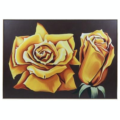 "Lowell Blair Nesbitt Oil Painting ""Two Yellow Roses"""
