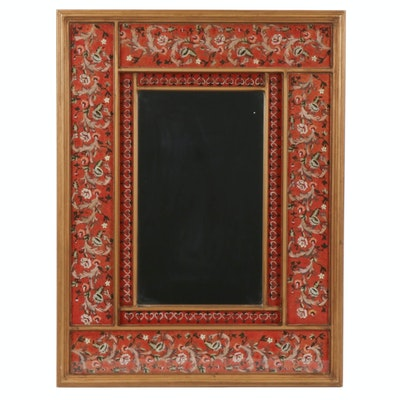 Reverse Painted Floral Wall Mirror with Gilt Trim Panels