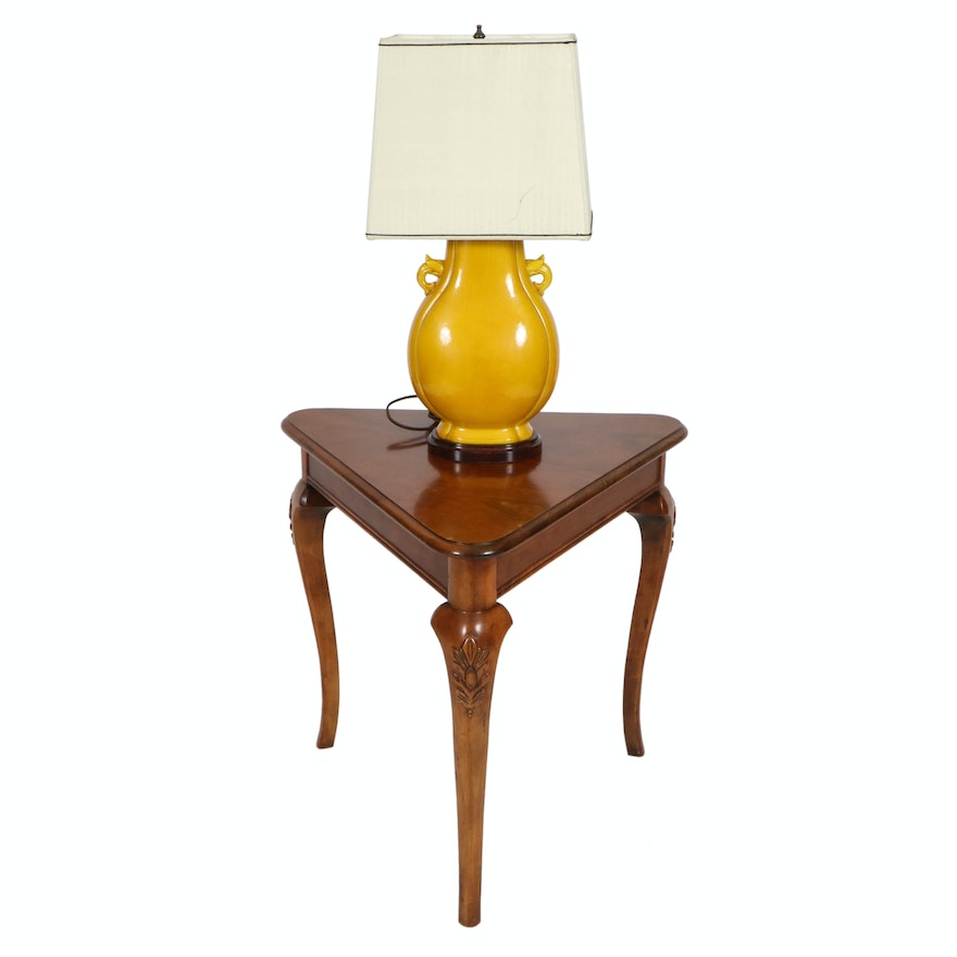 Maize Ceramic Table Lamp with Silk Shade and French Provincial Style Table