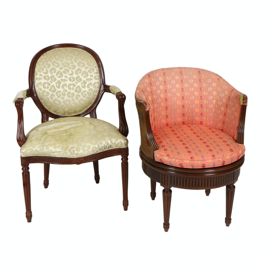 Hickory Chair and Louis XVI Style Upholstered Fauteuil and Tub Chair