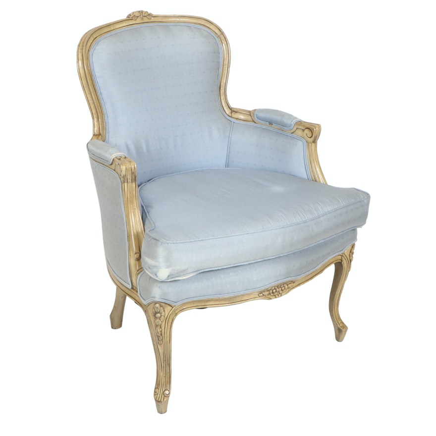 French Provincial Style Powder Blue Upholstered Armchair in Carved Wood Frame