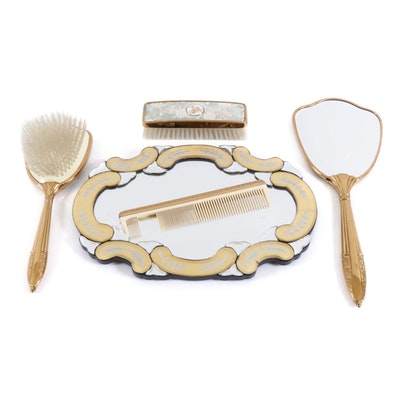 Victorian Style Tapestry-Handle Grooming Set with Vanity Mirror