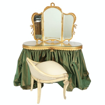 Rococo Revival Style Giltwood Vanity with Mirror and Upholstered Carved Chair