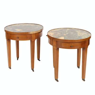 Pair of Baker Furniture Bouillotte Tables with Melamine Tops