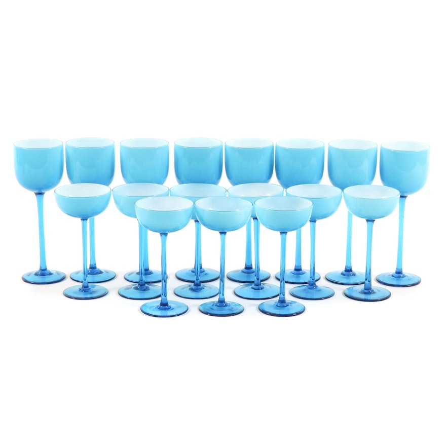 Frosted White and Blue Tinted Stemware, 20th Century