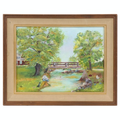 Landscape Oil Painting with Boy Fishing, 20th Century