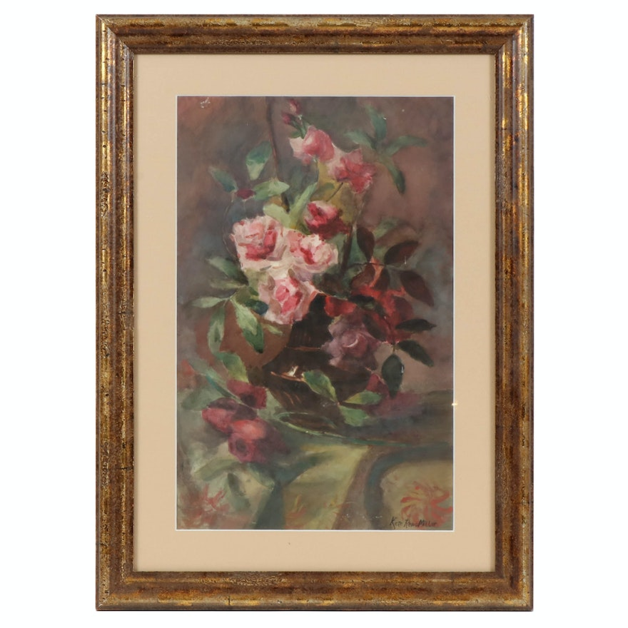 Kate Reno Millet Floral Still Life Watercolor Painting with Pink Roses