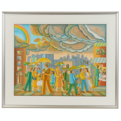 "John August Swanson Serigraph ""Rainy Day"", 1981"