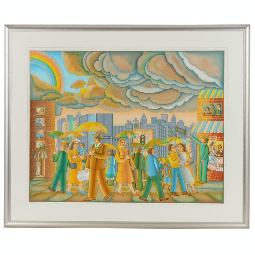 "John August Swanson Serigraph ""Rainy Day"", 1981"