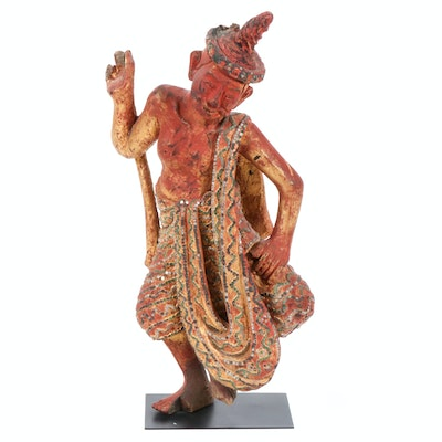 Hand-Painted and Carved Wood Sculpture of Thai Dancer, Early 20th Century