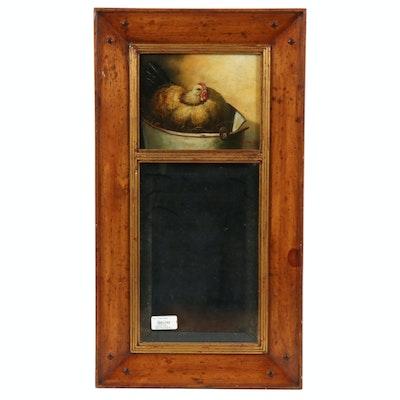 "Trevor Jones Trumeaux Mirror and Oil Painting ""Hen in a Bucket"""