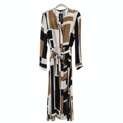 Lafayette 148 New York Long Sleeve Geometric Patterned Dress