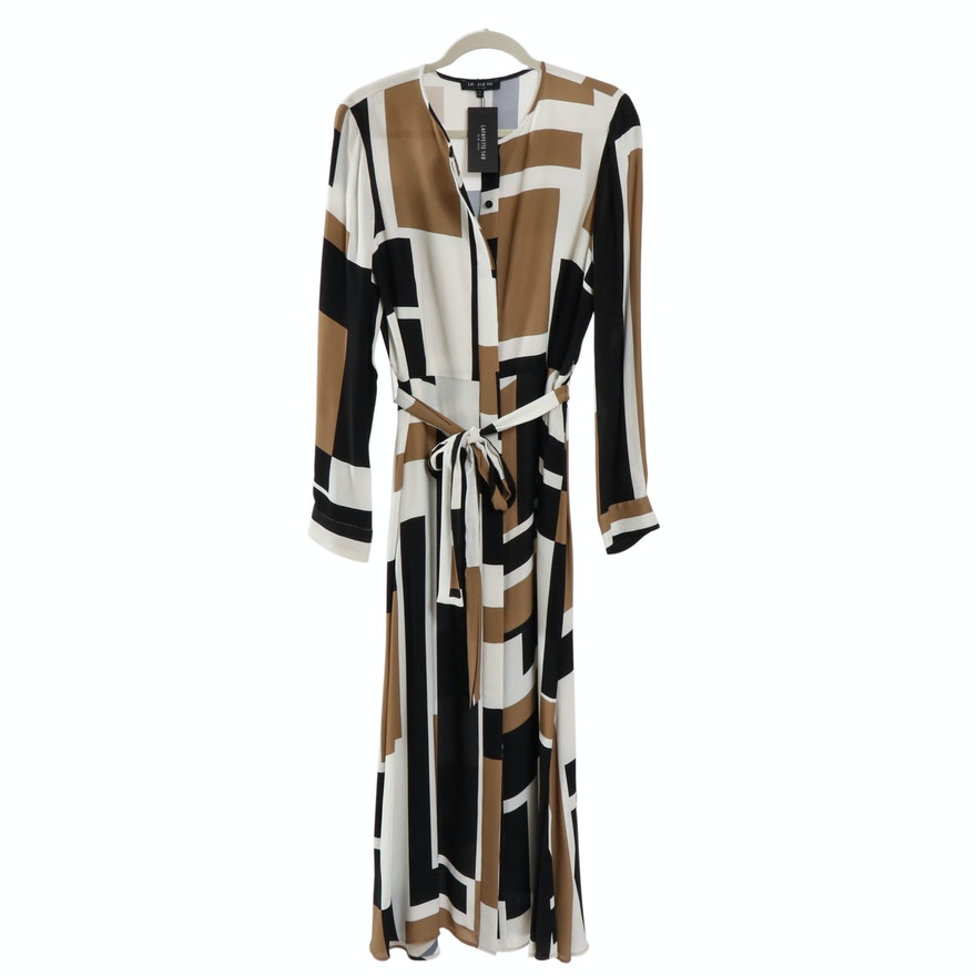Lafayette 148 New York Long Sleeve Geometric Patterned Dress