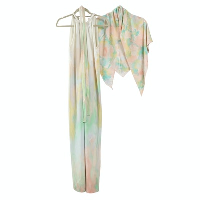 Saks Fifth Avenue Watercolor Pattern Sleeveless Full-Length Maxi Dress with Cape