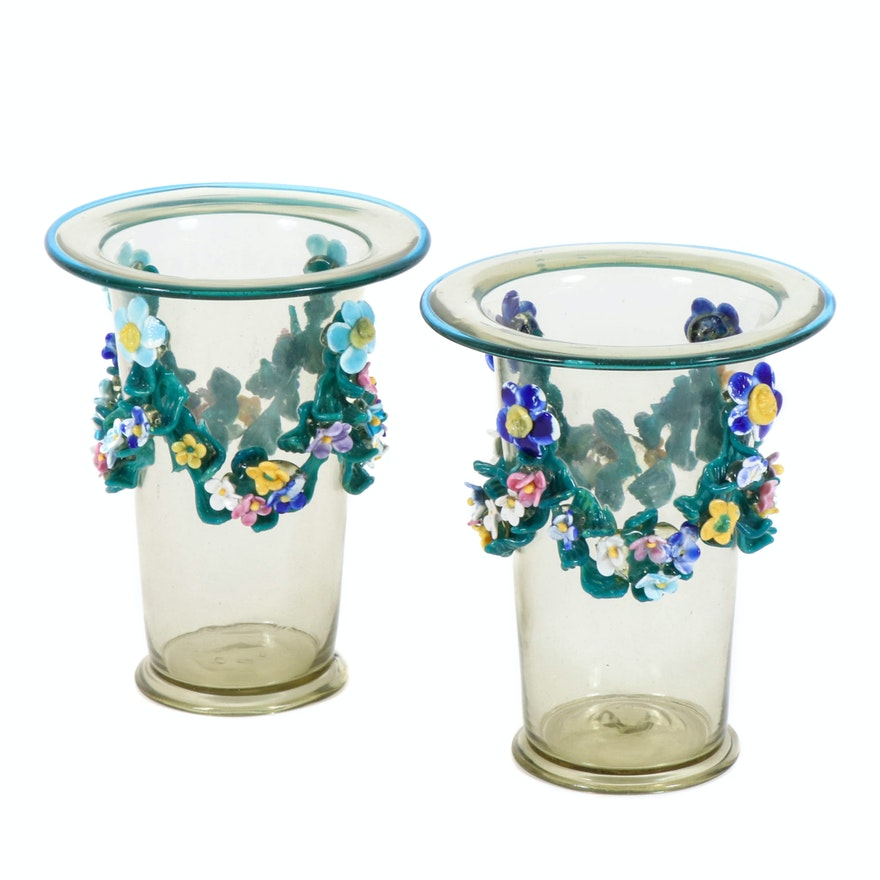 Pairing of Glass Vases Decorated with Hand-Blown Floral Garland
