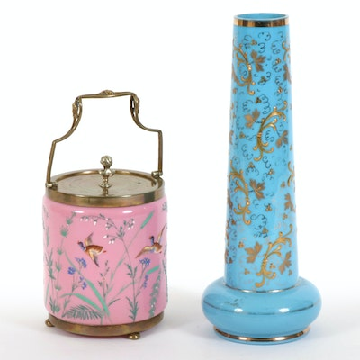 Hand Painted Glass Ice Bucket and Vase, Mid-20th Century