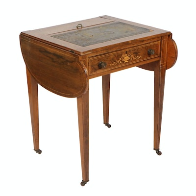 Rosewood Marquetry and String Inlaid Drop-Leaf Writing Table, Early 20th Century