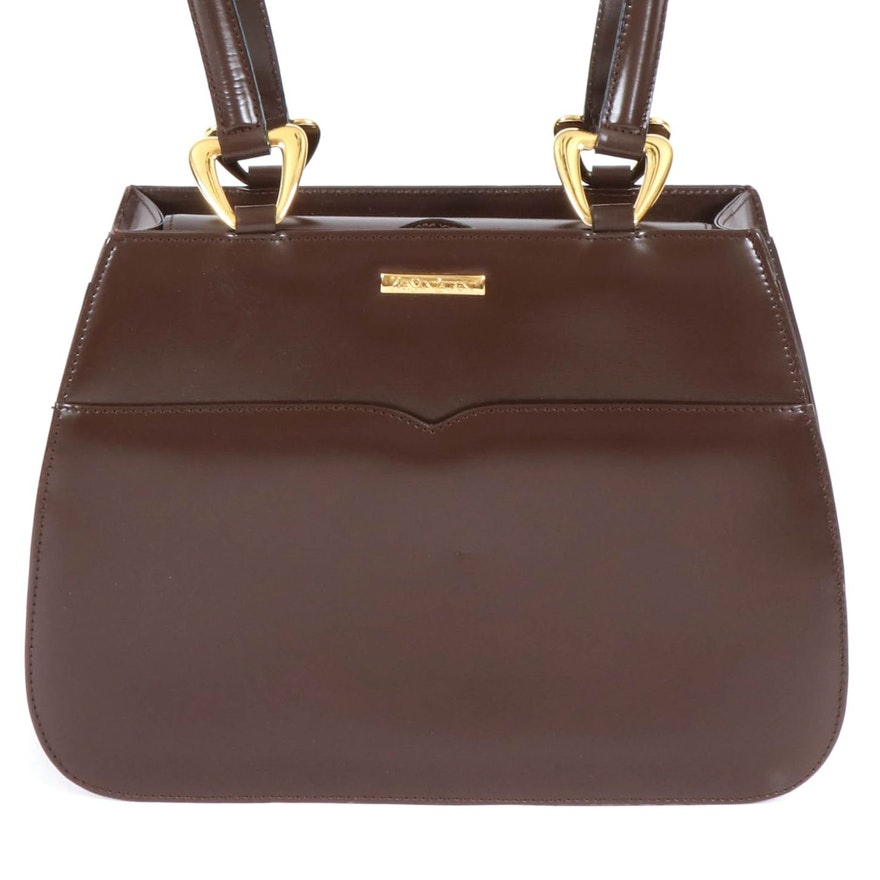 Yves Saint Laurent Brown Leather Frame Handbag