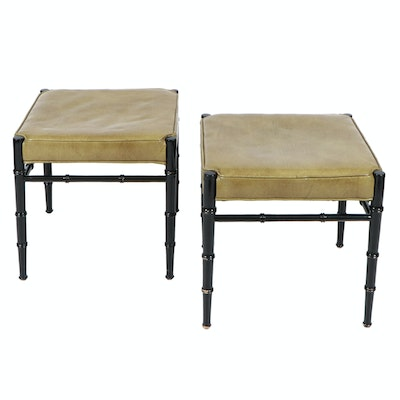 Pair of Sage Green Vinyl Stools on Ebonized Frames