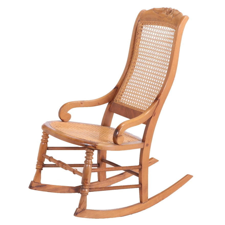 Victorian Caned Walnut Rocking Chair, Late 19th Century
