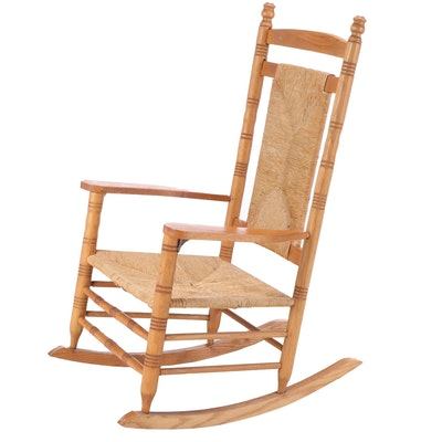American Primitive Oak Rocking Armchair, 20th Century