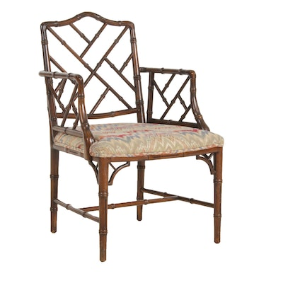 Chippendale Style Bamboo Carved Wood Armchair, 20th Century