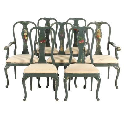 Seven Queen Anne Style Slat Back Dining Chairs with Painted Decoration