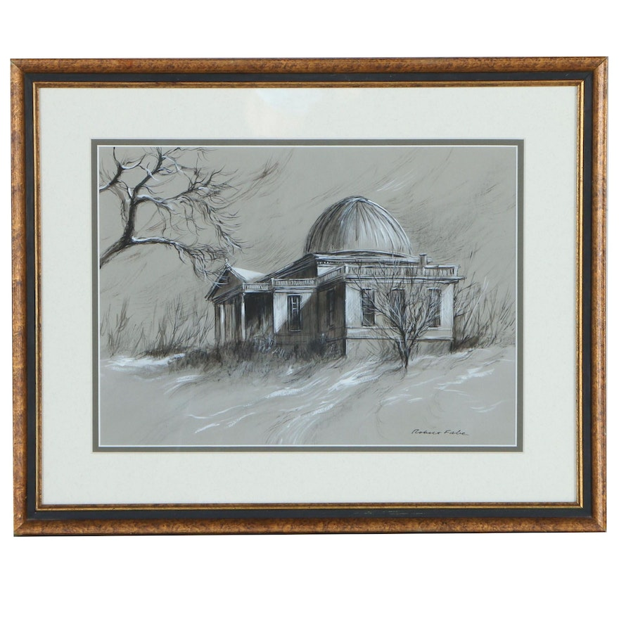 Robert Fabe Ink and Gouache Painting of Palladian Architecture